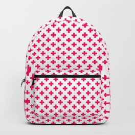 Small Hot Neon Pink Crosses on White Backpack