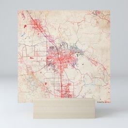 Santa Rosa map California painting Mini Art Print