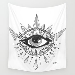 open eyes open mind Wall Tapestry