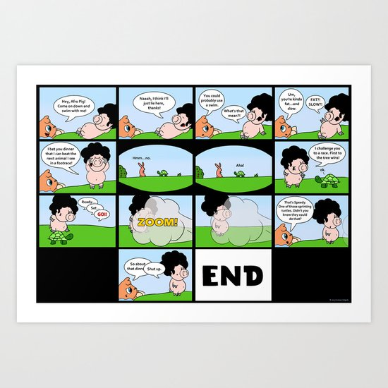 Afro Pig and the Footrace Art Print