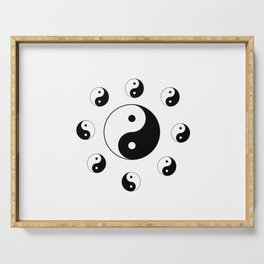 Yin and Yang 18- Tao,Zen,Taoism,Dao,Harmony,religion,buddhism,buddhist,taijitu,taiji,taoist,china Serving Tray