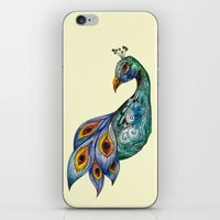 peacock iPhone & iPod Skins featuring Peacock by SilviaGancheva