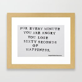 Happiness Ralph Waldo Emerson Quote Framed Art Print