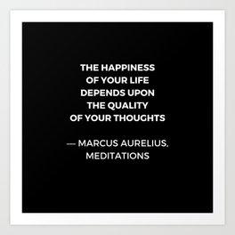 Stoic Wisdom Quotes - Marcus Aurelius Meditations - Happiness Art Print