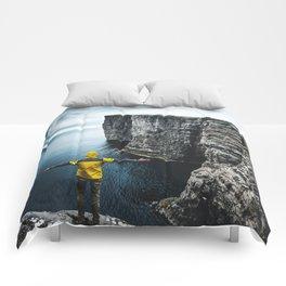explorer on top of the rock Comforters