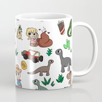jurassic park Mugs featuring Jurassic Park Bits by Lacey Simpson