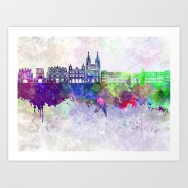 Burgos skyline in watercolor background Art Print
