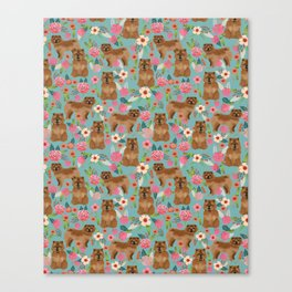 Chow Chow dog breed pet art dog floral pattern gifts for dog lover pet friendly Canvas Print