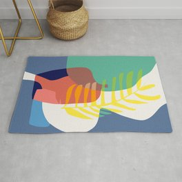 Still life in mix of red blue and yellow Rug
