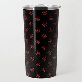 Scarlet Red on Black Snowflakes Travel Mug