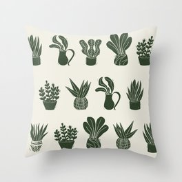 Green on Ivory houseplant linocut pattern  Throw Pillow