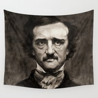 edgar allan poe Wall Tapestries featuring EDGAR ALLAN POE by Jason Seiler