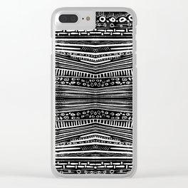 Linocut Tribal Pattern Clear iPhone Case