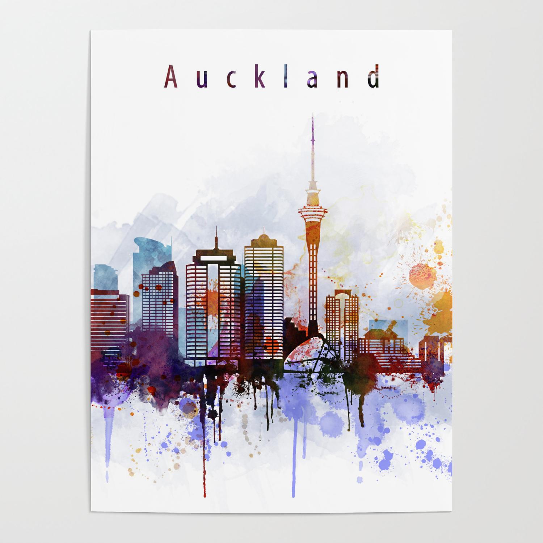 Auckland New Zealand FRAMED ART PRINTS Set Picture Poster Square Artwork