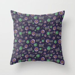 Sewing, Buttons and Needles on Navy Blue Throw Pillow