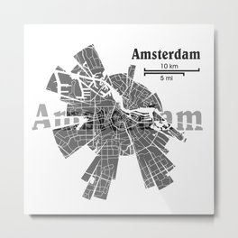 Amsterdam Map Metal Print