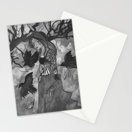 Raven Witch - Black & White Stationery Cards