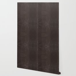 Alligator Brown Leather Print Wallpaper