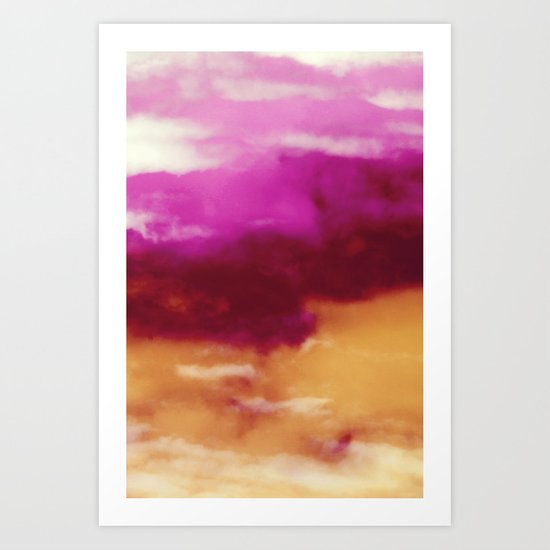Cherry Rose Painted Clouds Art Print