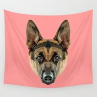 german Wall Tapestries featuring German Shepherd // Pink by peachandguava