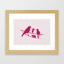 Girl tells a story to her friends Framed Art Print