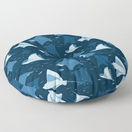 Blue stingrays pattern Floor Pillow