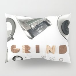 Grind // Exploded View Espresso Coffee Grinder Wood Block Typography Lettering Photograph Pillow Sham
