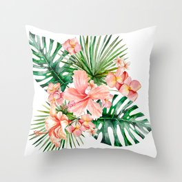 Tropical Jungle Hibiscus Flowers - Floral Throw Pillow