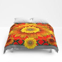 RED-GREY DECO YELLOW SUNFLOWERS MODERN ART Comforters