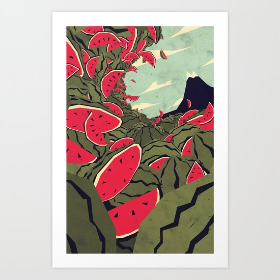 Watermelon surf dream Art Print
