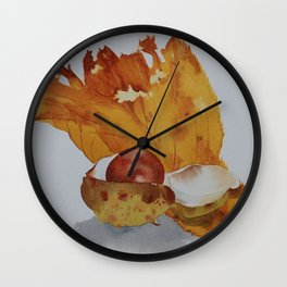 Autumn leaf and conker Wall Clock