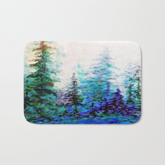 Mountain Landscape Pines In Blue-Greens-Purple Bath Mat