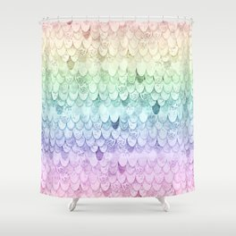 MAGIC MERMAID - PASTEL RAINBOW Shower Curtain