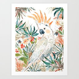 CLEMENTINE the Citron-Crested Cockatoo Art Print