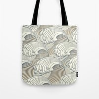 waves Tote Bags featuring waves by Vickn