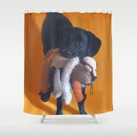 nemo Shower Curtains featuring Nemo the Dog by Allyson Rico