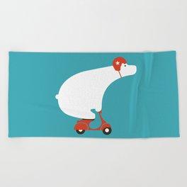Polar bear on scooter Beach Towel