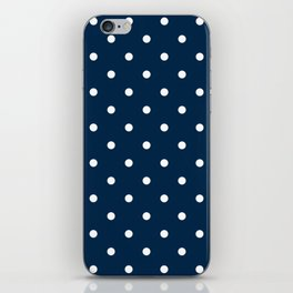 Navy Blue & White Polka Dots iPhone Skin