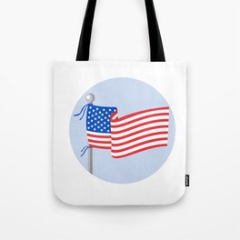 USA Flag Stars and Stripes on Flagpole Circle Cartoon Tote Bag