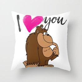 I Love you Silly Monkey Throw Pillow