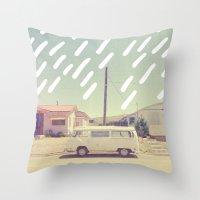 volkswagen Throw Pillows featuring Volkswagen, New Mexico by Anna Dorfman