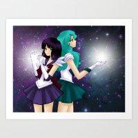 Hotaru and Michiru Art Print