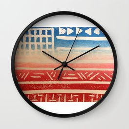 Flag Print- Red White and Blue Wall Clock