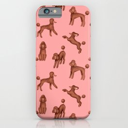Chocolate Poodles Pattern (Pink Background) iPhone Case