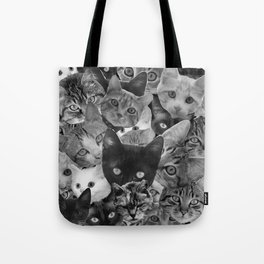 BW Cat Collage Tote Bag