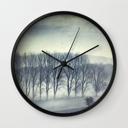 Trees in Mist Wall Clock