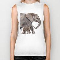 elephants Biker Tanks featuring Elephants by Goosi
