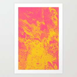 Pink and Yellow Marble - An Abstract Piece Art Print