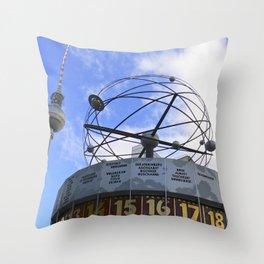 World Time Clock with Berlin TV Tower, Alex Throw Pillow