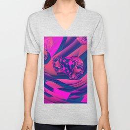Creating Worlds – Abstract Magenta & Sapphire Magic Unisex V-Neck